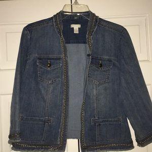 J. Jill denim jean jacket with chain trim 1